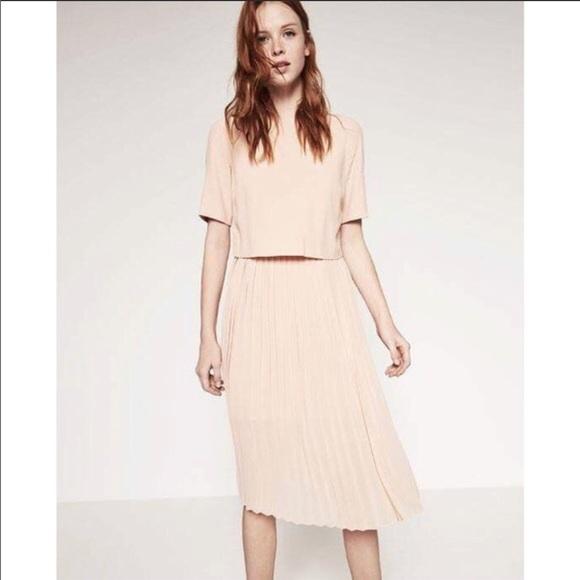 eef54f72 Zara Dresses | Pleated Midi Dress In Blush Pink | Poshmark